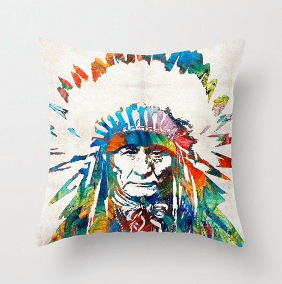Native American Pillow Cover Art Indian Chief Warrior Pow Wow