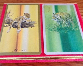 Pair of vintage decks of playing cards, from the American Wildlife Federation.
