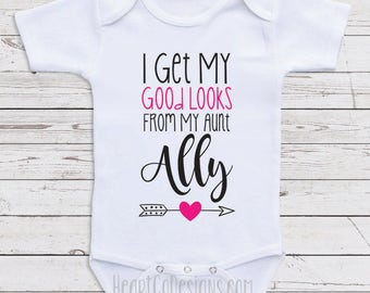 Personalized baby clothes my aunt is my bestie aunt baby clothes i get my good looks from my aunt personalized baby negle Image collections
