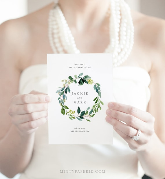 Greenery Wedding Program Template, Folded Booklet, INSTANT DOWNLOAD, Order of Service, 100% Editable, DIY Boho Wedding, Templett  #044-119WP