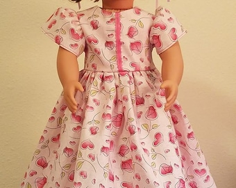Doll Dress - pink hearts and roses