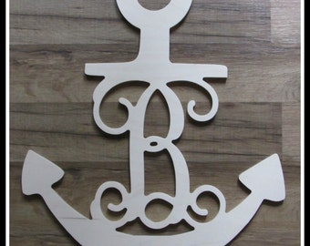 """Anchor Door Hanger with Monogram Letter - Unpainted Wood - 22"""" size - Wooden Letter Decor - Wall Hanging - Nautical decor -Navy - Sailing"""