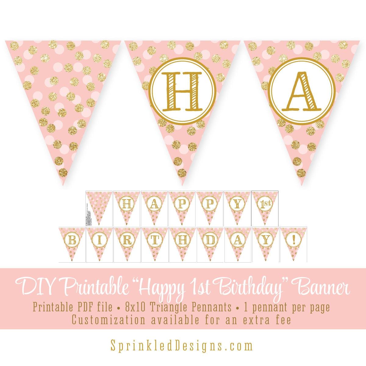 Blush Pink Gold Glitter Happy 1st Birthday 60th Printable
