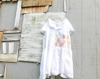 Spring Tunic, Blouse, Floral Tunic, White, Up-cycled Clothing, Cotton Shirt, Summer, Upcycled Dress, Romantic, Boho, CreoleSha