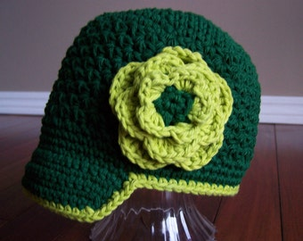 RTS 6-12 Month Crocheted Newsboy St. Patrick's Day Emerald Green/Lime Girly Trendy Cute Soft Princess Pretty