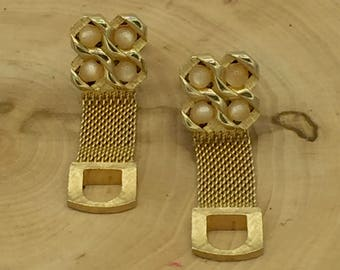 Gold tone, flux pearls Cufflink