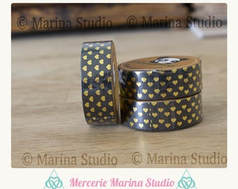 Genuine masking tape black and heart gold 10 M rice paper