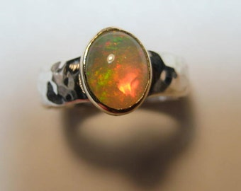 Ethiopian Opal Ring ..Sterling Silver Hammered Band with 14 kt Gold ..U.S. Size  6 .  U.K. size L 1/2 ... e854