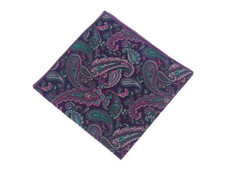 Purple  Paisley Pocket Square.Paisley Cotton Hankies.Mens Handkerchief.Wedding.Prom.Gifts.Matching Set