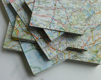 Origami paper MAP land map 20 sheets of 15x15cm recycling