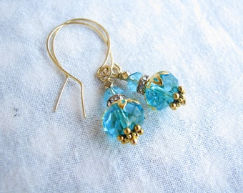 Gold Blue earrings Dangle Drop earrings Mother Gift for her Crystal earrings Shabby earrings Wedding earrings Bridesmaid earrings Wife gift