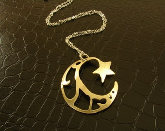 Red Brass Moon and Star Pendant Necklace