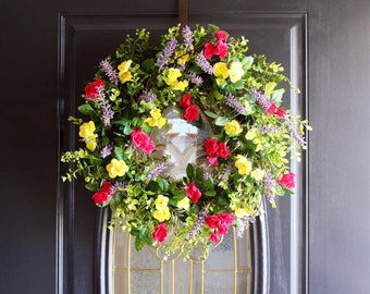 Wreath For Front Door, Easter Wreaths, Spring Wreath, Valentines Front Door Wreath, Cottage Wreath, Rose Wreath, Everyday Wreath, Wreaths