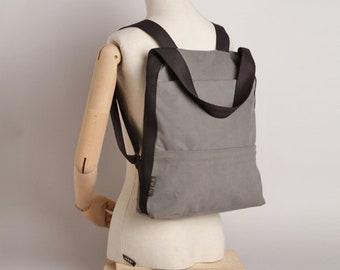 Line backpack and handbag fabric, backpack and shoulder bag. Light grey Color.