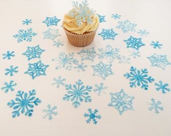 38 Edible Snow Queen Wafer Snowflake Collection Cupcake Toppers