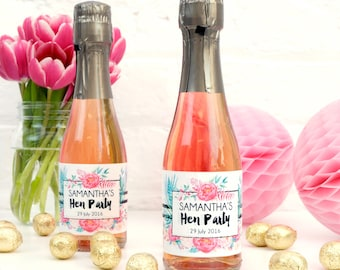 Personalised Floral Hen Party Bottle Labels Party Accessory for Bridal Showers and Bachelorette Parties