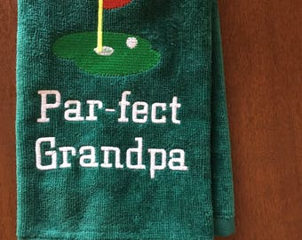 personalized, monogramed , kick putt golf towels make great golf gifts, add if you want kick putt on your towel, 12 x 16