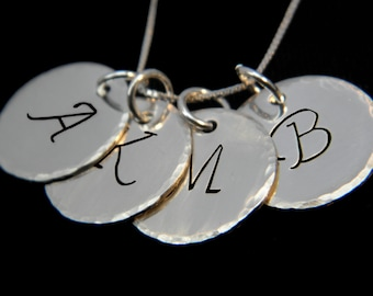 Initial Necklace, Personalized Necklace, Hammered Edge Four Initial Sterling Silver Necklace, Silver Discs