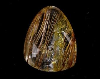 Natural Rare Yellow rutilated quartz Semi Precious Polished Stone Healing#300
