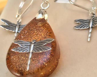 Outlander Jewelry~Dragonfly in Amber ~ Dragonfly Pendant - Resin Pendant - Outlander inspired - Silver Necklace~Tear Pendant