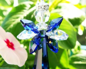 Angel Rear View Mirror Charm, Blue Swarovski Crystal Suncatcher for Car, Rearview Mirror, Car Accessories