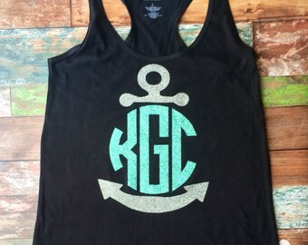 Monogrammed Swimsuit Coverups, Monogrammed Anchor Tank dress, Bridesmaid Gift, Bachelorette Party, Bachelorette tank dress