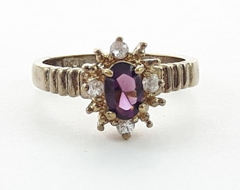 Antiqued Gold Amethyst and CZ Cluster Ring - VPE219