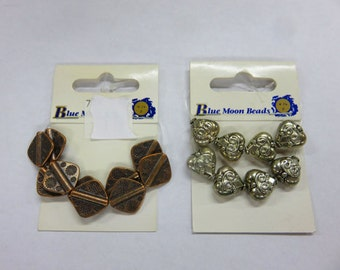 Blue Moon Beads - 10 Copper Diamond Beads - Plus - 10 Silver Ornate Heart Beads