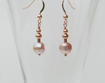 Rose Gold & Pink Freshwater Pearl Drop Earrings - Delicate Baroque Pearls with 14K Rose Gold Filled Earwires and Beads - Ballerina Earrings
