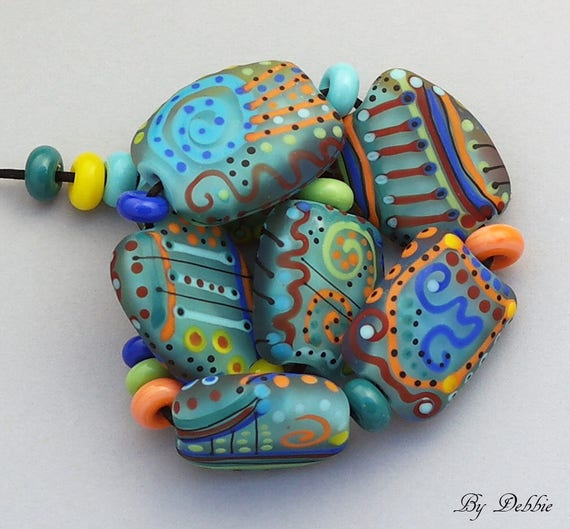 Handmade Beads Lampwork Beads Patterned Beads Glass Beads For Jewelry Supplies Organic Beads SRA Lampwork Colorful Beads Debbie Sanders