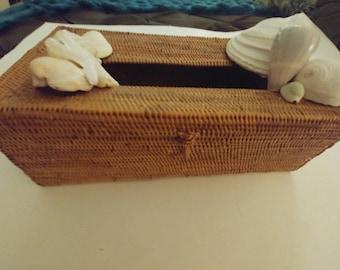 Beach coastal nautical wicker and seashell tissue box cover