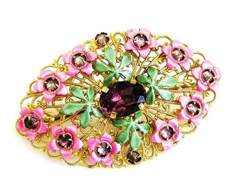 Sash Brooch or Waist Pin Pink and Green Enamel c.1930