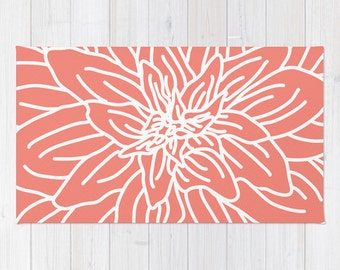 Coral Abstract Flower Area Rug - Modern Flower Rug - Coral and White - Nursery Area Rug - Contemporary Home Decor