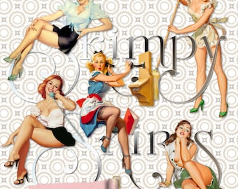 Vintage Pinup Girls | Skimpy Skirts Retro | Clipart Instant Download