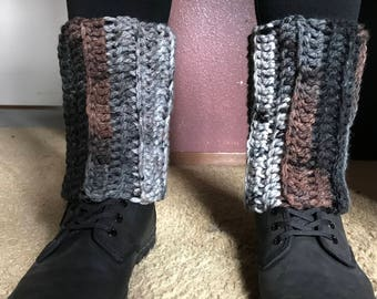 Crochet Leg Warmers Gray Black Brown