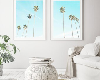 Palm Tree Print Set of 2 Palm Tree Printable Wall Art Large Wall Art Prints Nature Art Coastal Prints Digital Download Palm Tree Photography