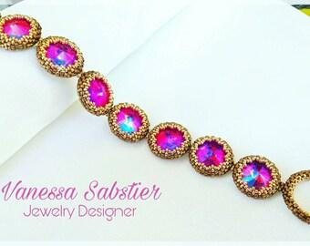 Peyote bracelet, Beaded Bracelet, Elegant Bracelet, Rivoli Bracelet, Brown Bracelet, Woman Bracelet, Bronze Bracelet, Peyote, Rivoli,