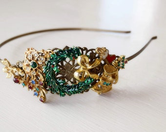 Handcrafted Vintage Jewelry Christmas Wreath Headband - Christmas Gift - Gold and Green - Christmas Tree - Holiday Stocking - Adult Headband