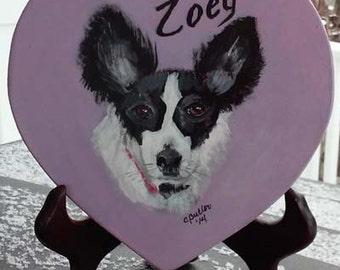 Pet portrait, Heart shaped pet portrait, Valentines Day, pet lover gift, papillon portrait, hand painted