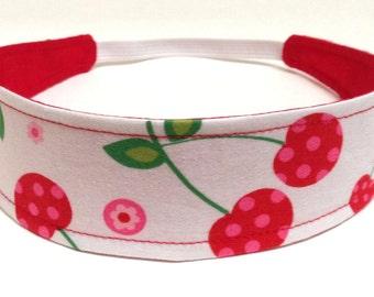 Girls Cherry Headband, Child, Girls Headband, Reversible Fabric - SWEET CHERRIES