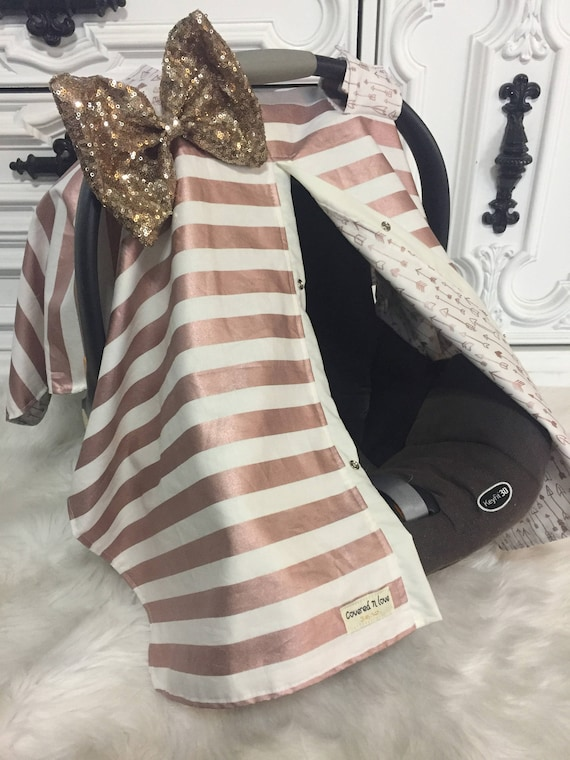 Rose Gold sparkle car seat canopy , Jumbo Gold Bling Bow , Comes with JUMBO bow