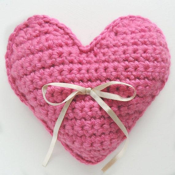Herz häkeln Kissen Rosa