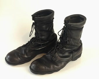 Vintage classic black leather tall Combat Boots distressed WORN IN military issue shoes mens size 12.5 work jungle jump goth punk grunge