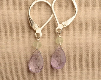 Amethyst Earrings, Lavender Gemstone Earrings, February Birthstone, Gemstone Drop Earrings, Silver Earrings