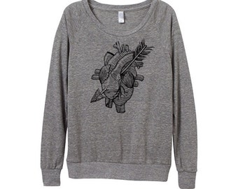 Heart Sweater  - Womens Anatomical heart Sweatshirt   - Small, Medium, Large, Extra Large (3 Color Options)