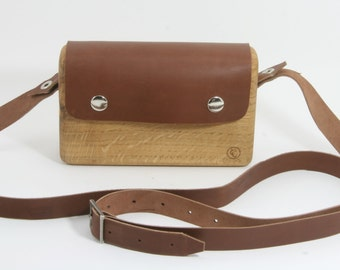Wooden bag, Small oak wood handbag with brown leather flap, and cross body strap.