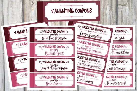 valentine coupon book love coupons valentines day coupons gift for her gift for him valentines gift last minute gift printable gift - Valentine Coupon Book