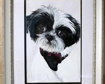 A4 Pet Portrait Painting, Acrylic Pet Portrait, Framed Portrait, Mounted Pet Painting,