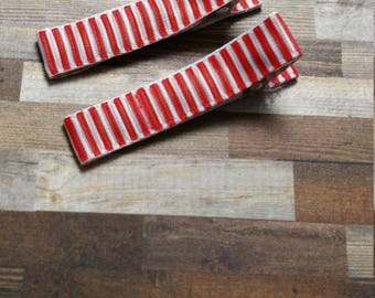 Red Hair Clip Set / Striped Hair Clip / Celebration Hair Clip / Toddler Hair Clip / Girls Hair Clip Set / Non Slip Hair Clip