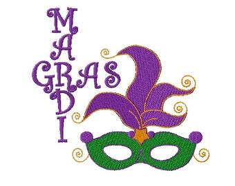 Mardi Gras Mask Embroidery Design